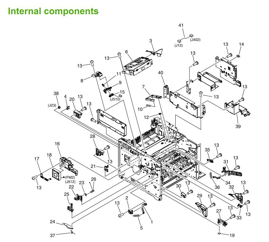 3. HP M3027 M3035 Internal assemblies 1 of 5 printer parts diagram