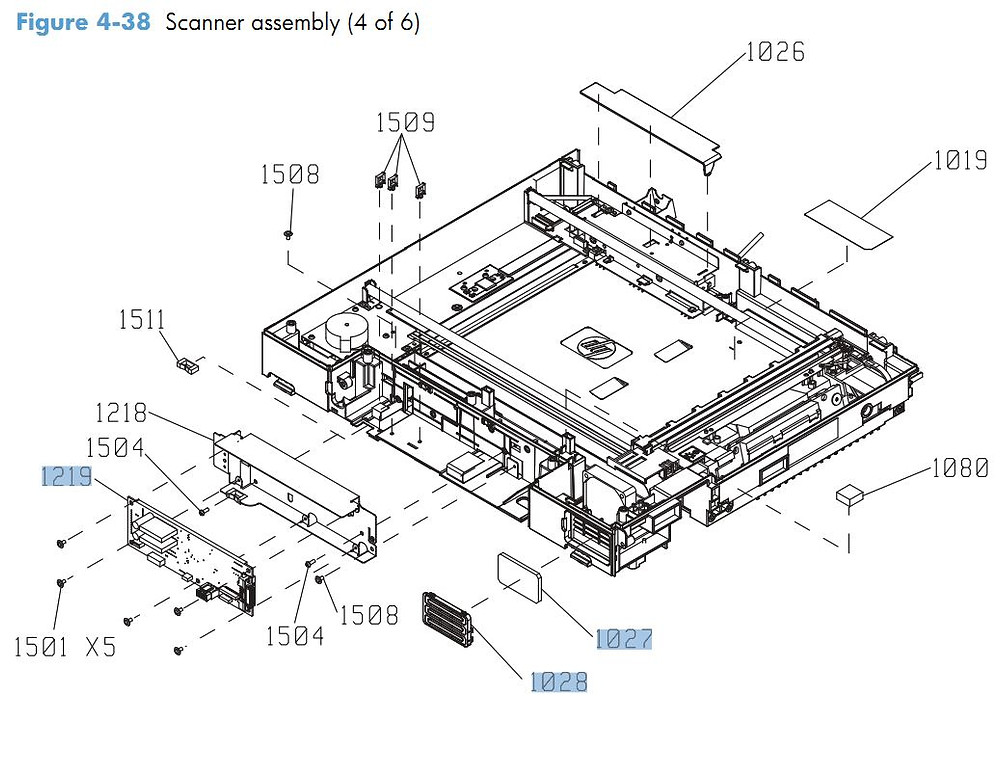 38. HP CM4540 Scanner assembly 4 of 6 printer parts diagram