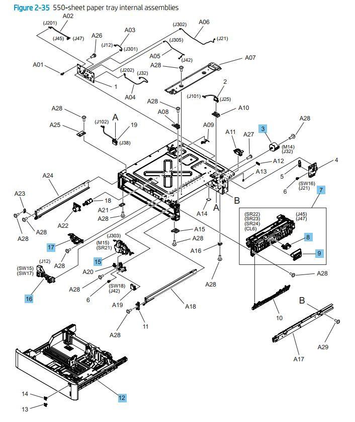35. HP M776dn M776z M856 E85055 550 sheet tray internal assemblies printer parts diagram