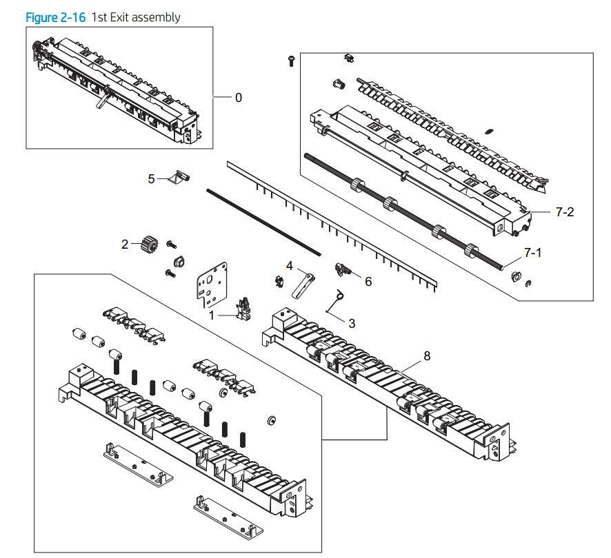 3. HP E77422 E77428 1st exit assembly printer parts diagram