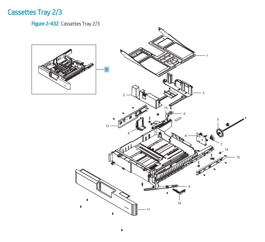 5. HP LaserJet E82540 E82550 E82560 Cassette Tray 2 / 3 Paper Tray Printer Parts Diagram
