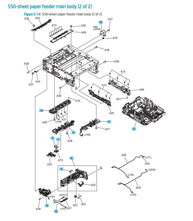 11. HP M454 M479 550 sheet paper feeder main body 2 of 2 printer parts diagram