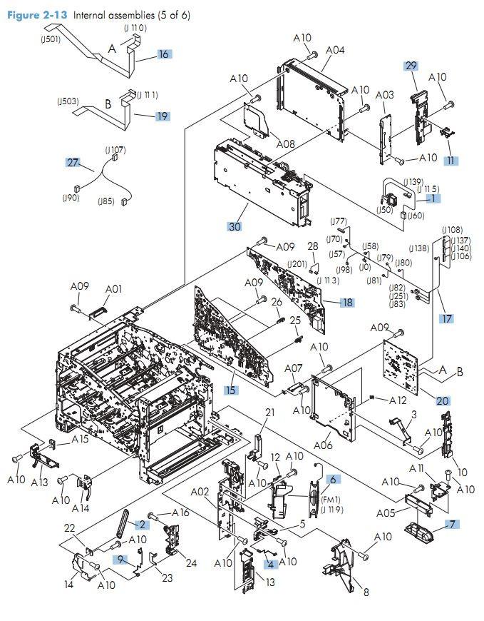 11.  HP M575 Internal Components 5 of 6 printer parts diagram