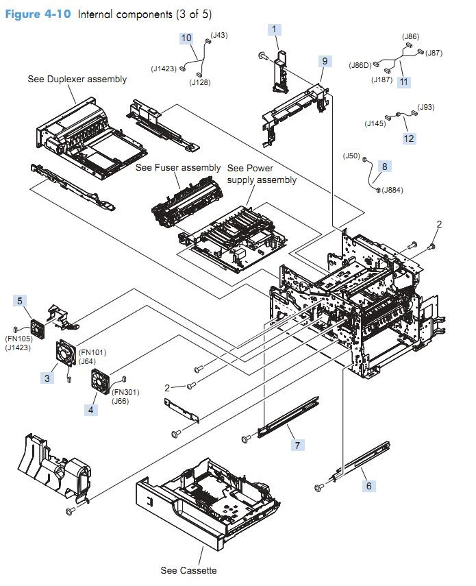 5. HP M4555 Internal Components 3 of 5 printer parts diagram