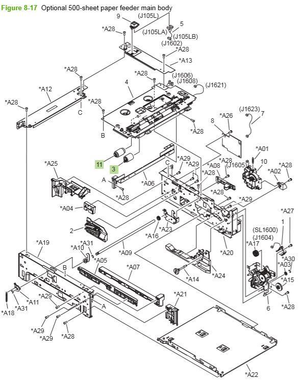 13) HP P4014 P4015 P4515 optional 500 sheet feeder main body printer parts diagram