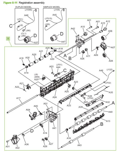 10) HP CP3525 Registration assembly printer parts diagram
