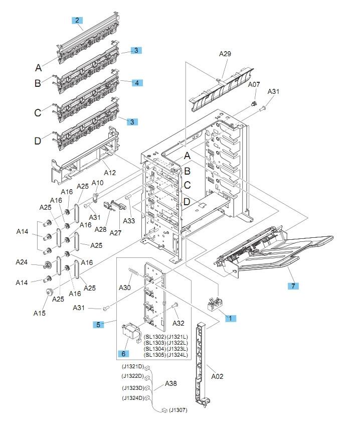 5 Bin Mailbox Main Body 1 of 2 M604 M605 M606 Printers Part Diagram