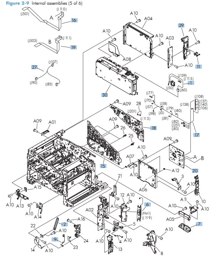 7. HP M570 Internal Components 5 of 6 printer parts diagram