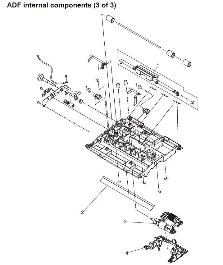 28. HP 4345 Q3942A 4345x Q3943A 4345xs Q3944A 4345xm Q3945A ADF assembly internal components 3 of 3 Printer Part Diagrams