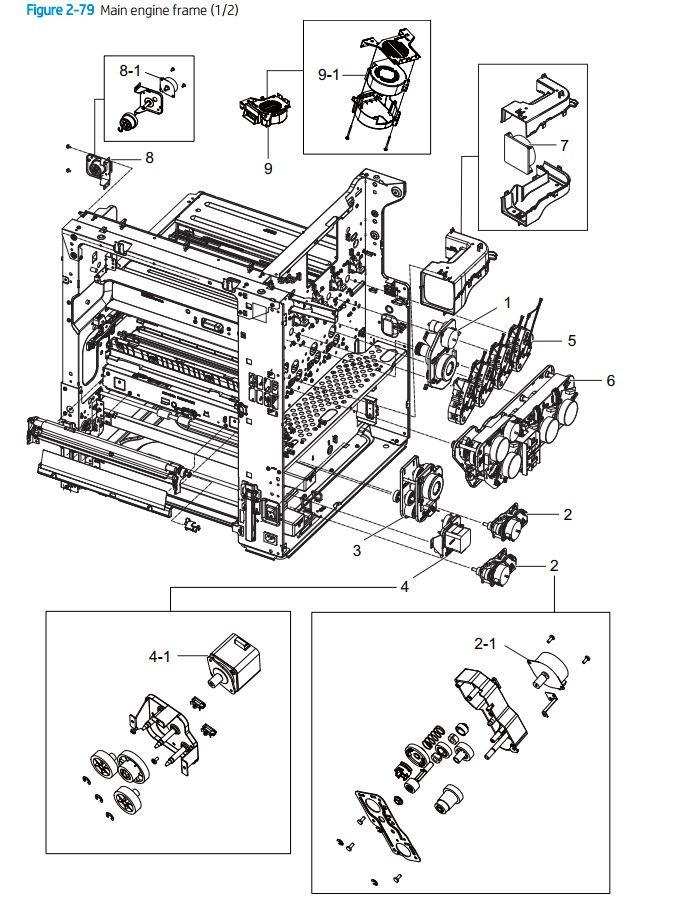 5. HP E77422 E77428 Main engine frame 1 of 2 printer parts diagram