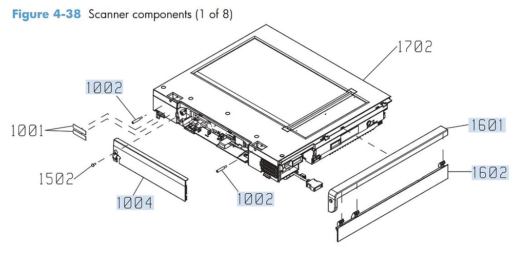 32. HP M4555 Scanner Components 1 of 8 printer parts diagram