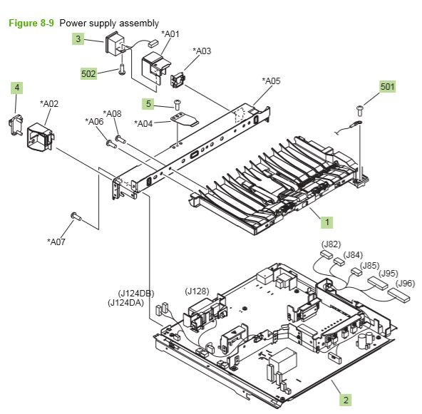5) HP P4014 P4015 P4515 power supply assembly printer parts diagram