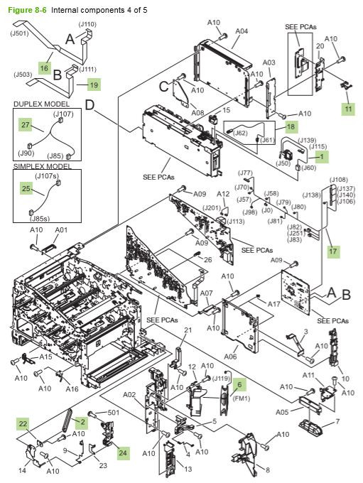 6) HP CP3525 Internal components 4 of 5 printer parts diagram