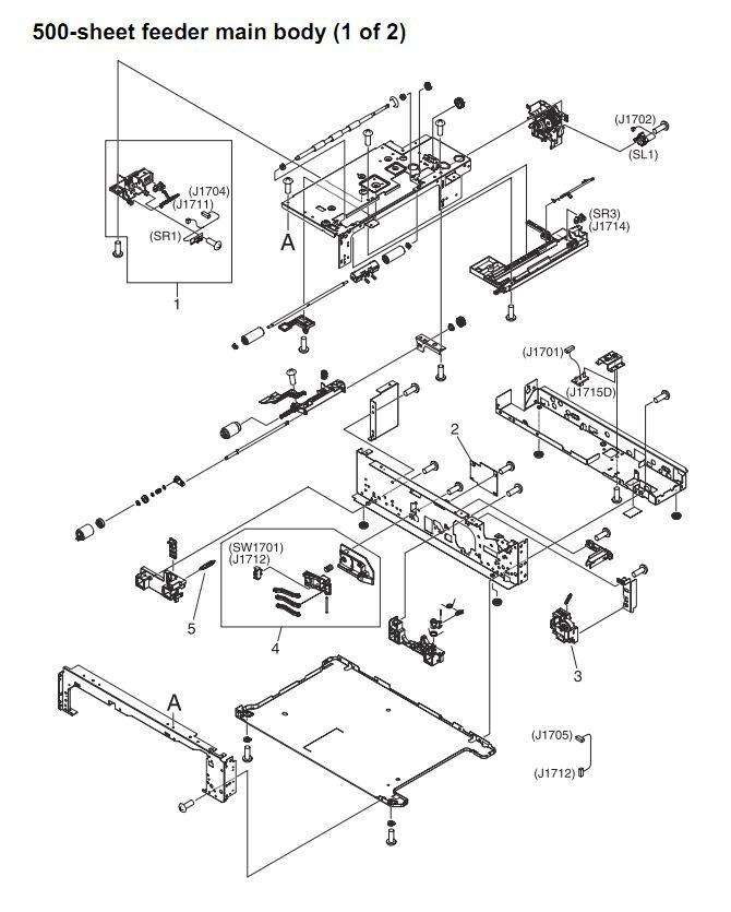 43. HP 4345 Q3942A 4345x Q3943A 4345xs Q3944A 4345xm Q3945A 500 sheet feeder main body 1 of 2 Printer Part Diagrams