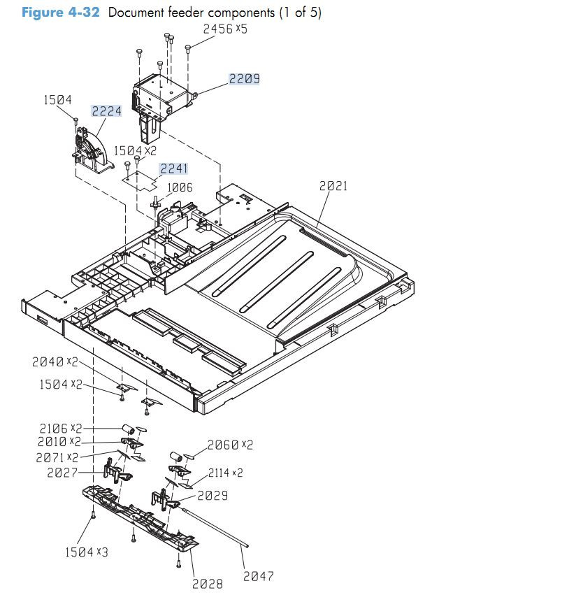 26. HP M4555 Document feeder components 1 of 5 printer parts diagram