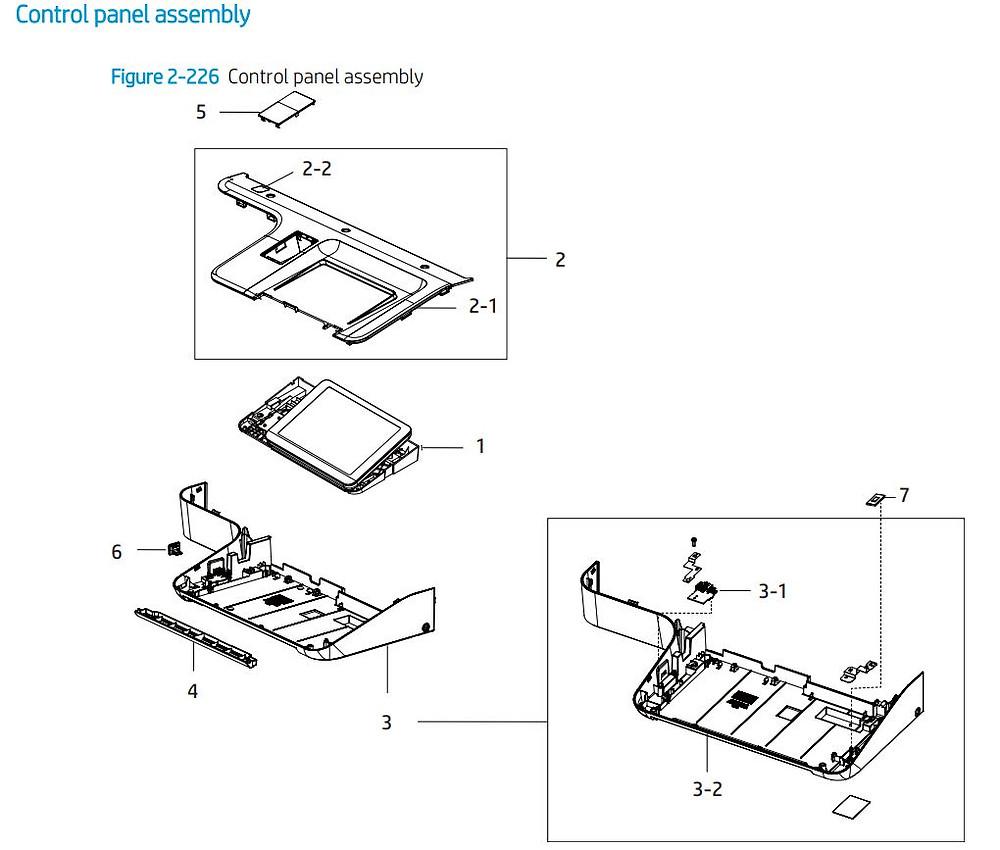 21. HP E77422 E77428 Control panel assembly printer parts diagram