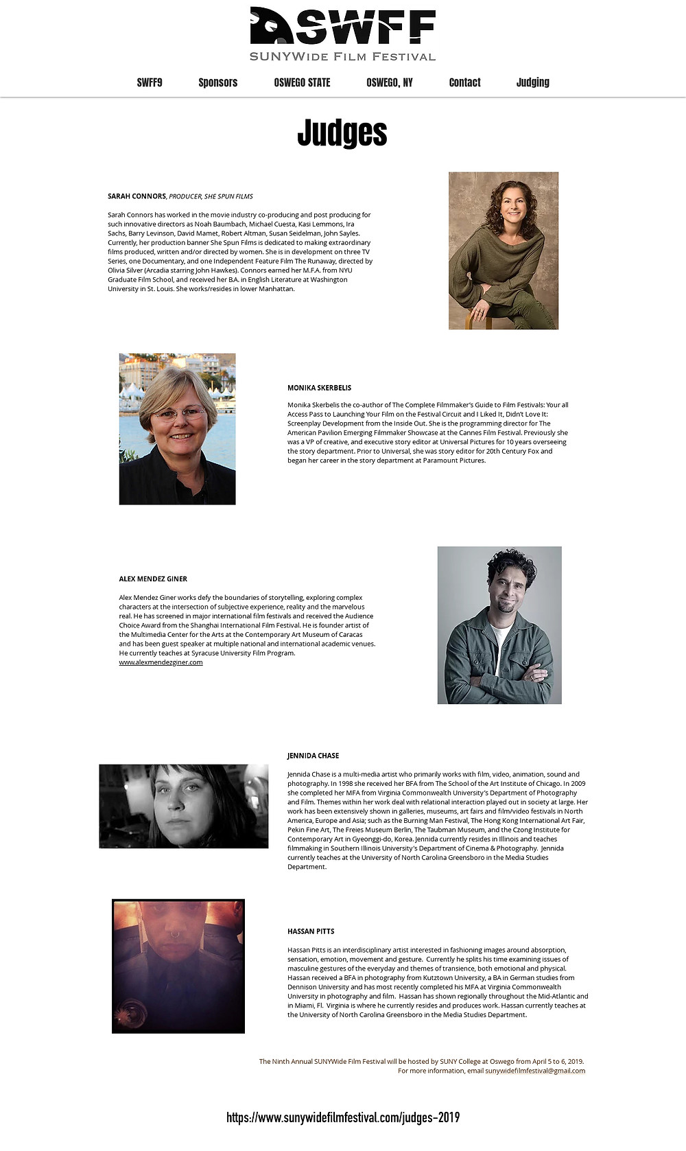9th SUNYWide Film Festival Judges