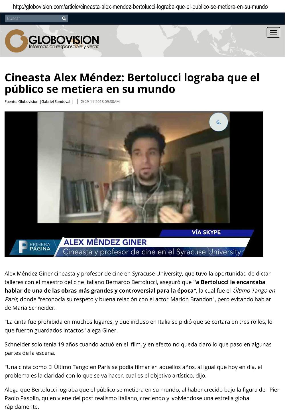 On Bertolucci's Film Legacy. TV Interview