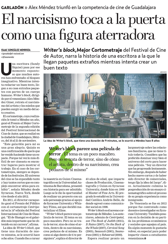 Writer's Block Featured in El Nacional