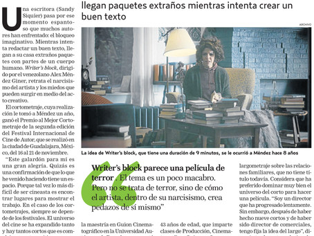 Writer's Block featured in Venezuelan Newspaper El Nacional