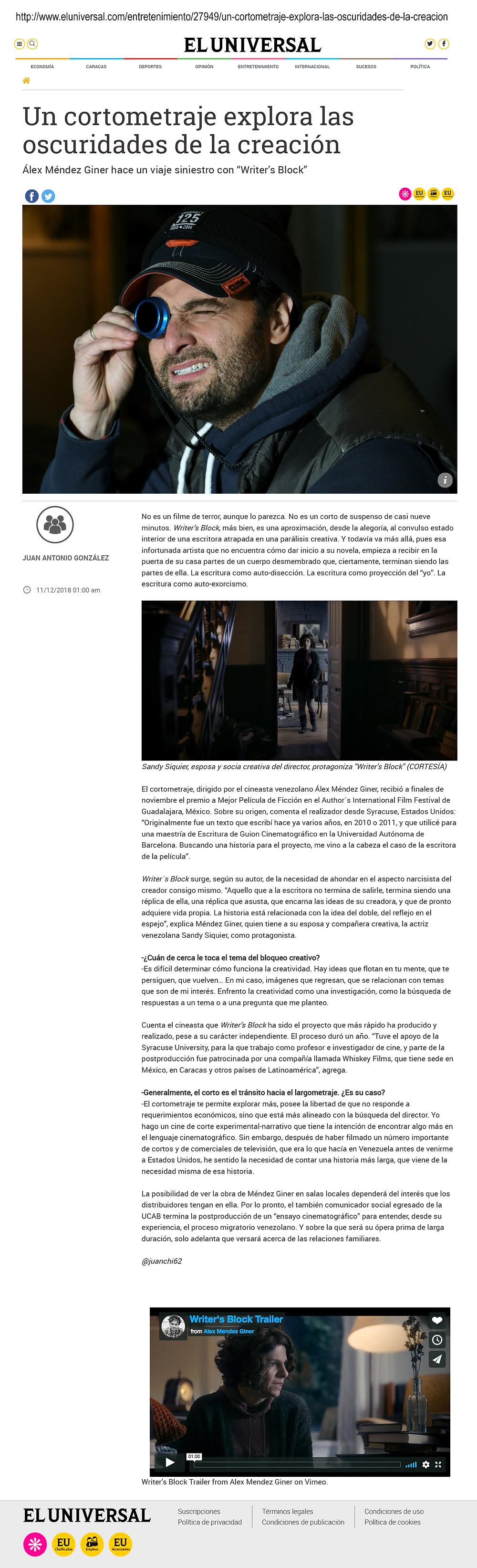 Writer's Block Featured in El Universal