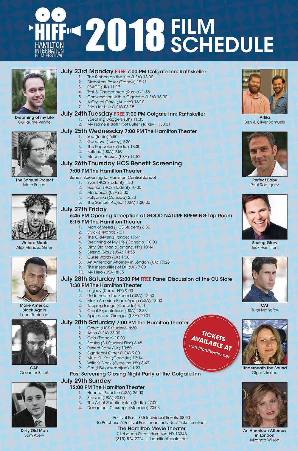 Hamilton International Film Festival Schedule