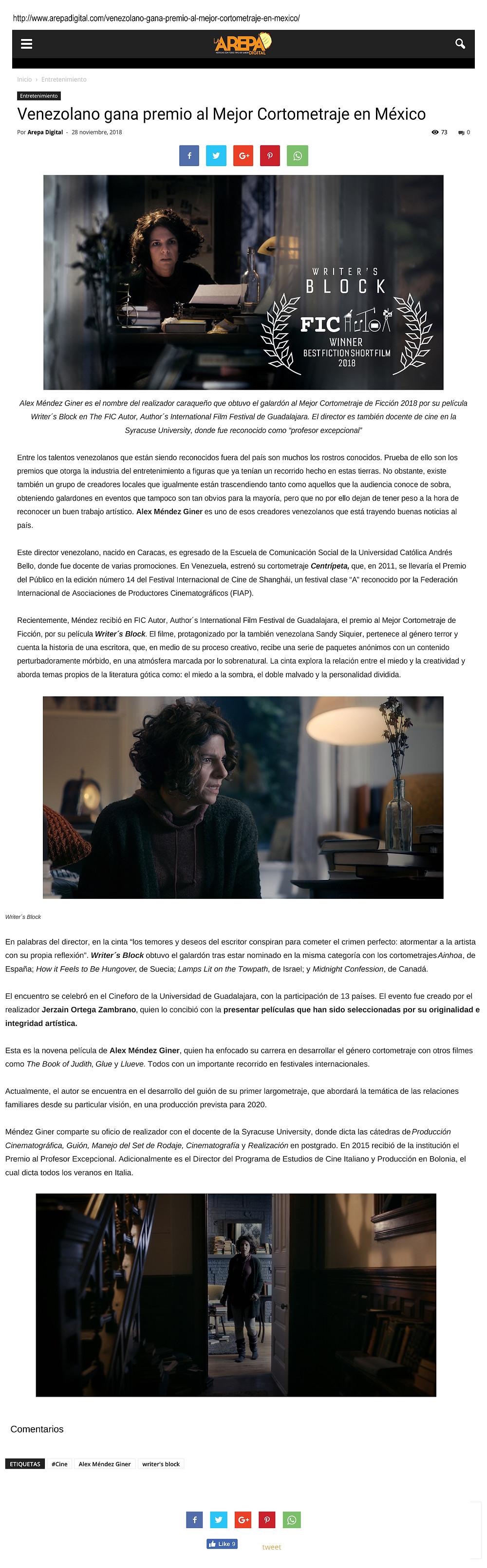 Writer's Block Featured in La Arepa Digital