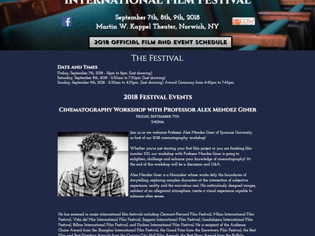 Special Presentation and Cinematography Workshop at Twin Tiers International Film Festival