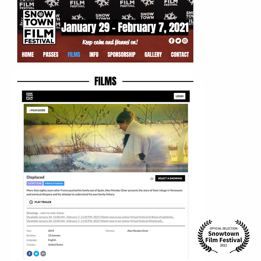 Happy New Year! Displaced Official Selection at 2021 Snowtown Film Festival