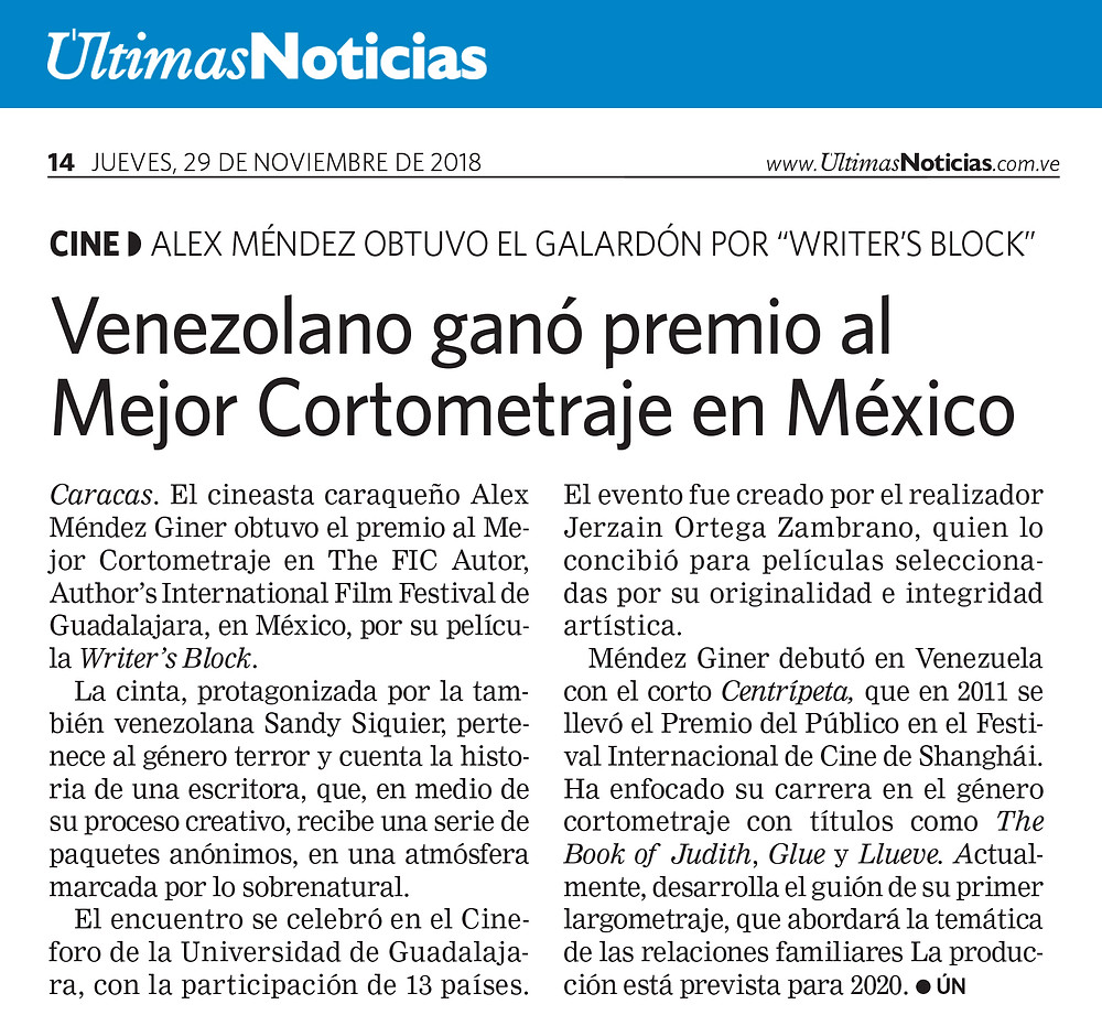 Writer's Block Featured in Últimas Noticias