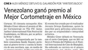 Writer's Block featured in Venezuelan Newspaper Últimas Noticias