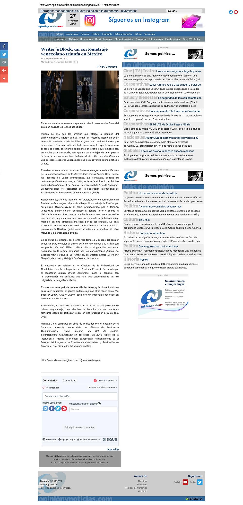 Writer's Block Featured in Opinión y Noticias.com