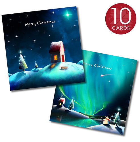 Christmas cards (snowman & Sledging) - 10 pack