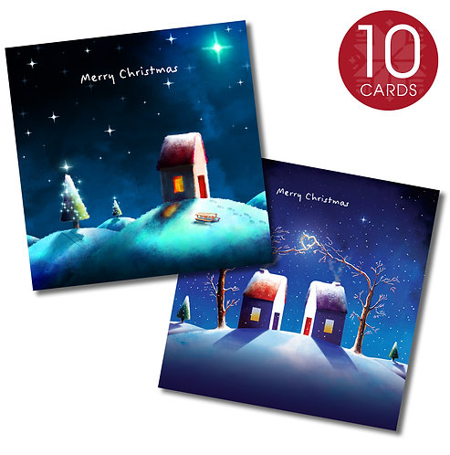 Christmas card (sledging and heart) - 10 cards