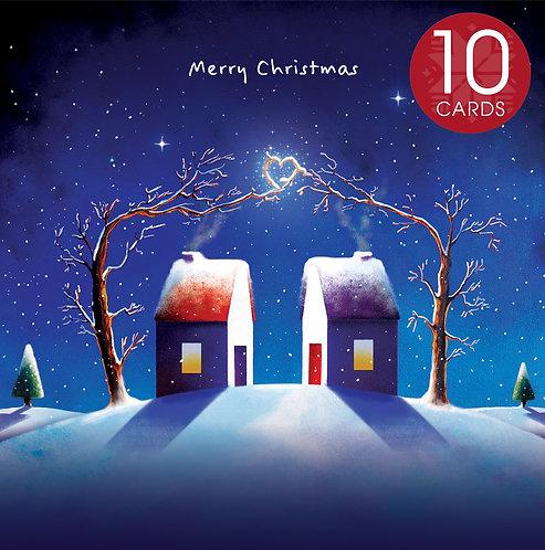 Christmas card (heart) - 10 cards