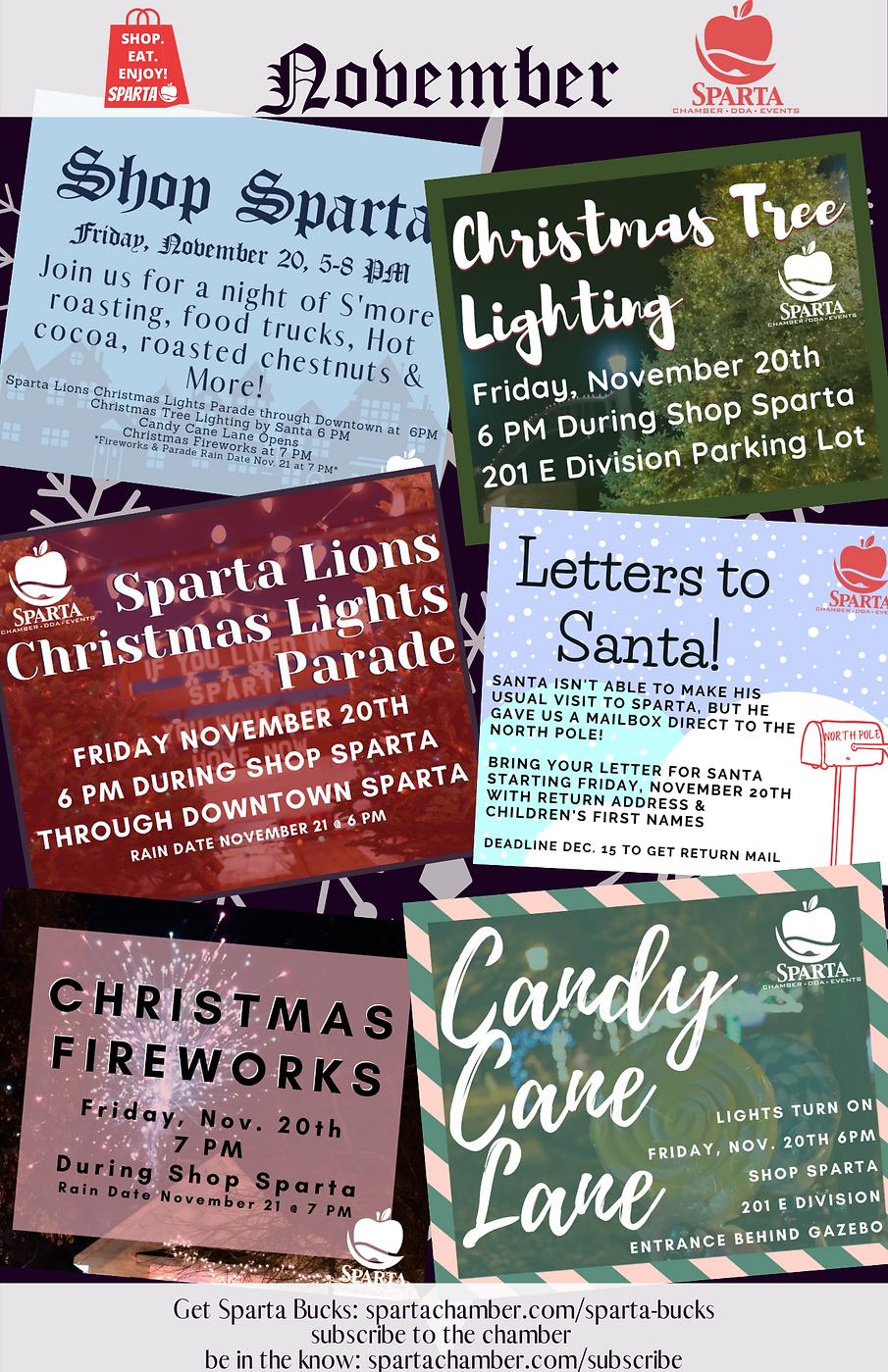 Sparta Christmas schedule sparta Michigan santa shop sparta 2020