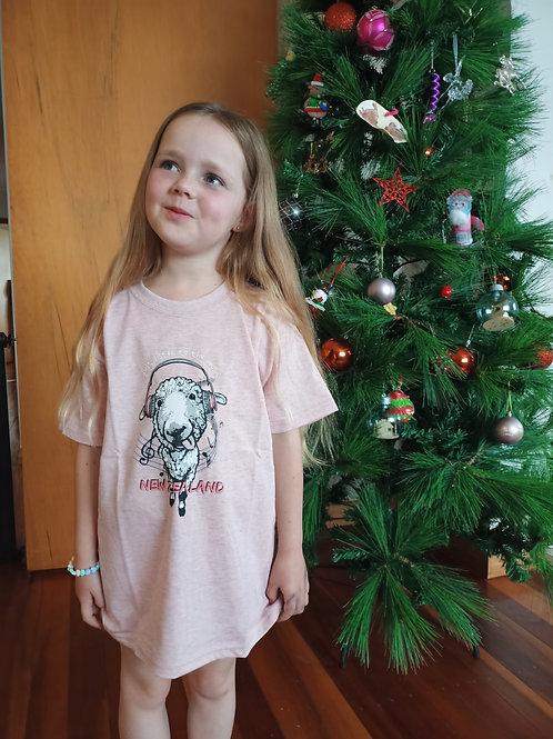 Child's Tee Pink - musical sheep