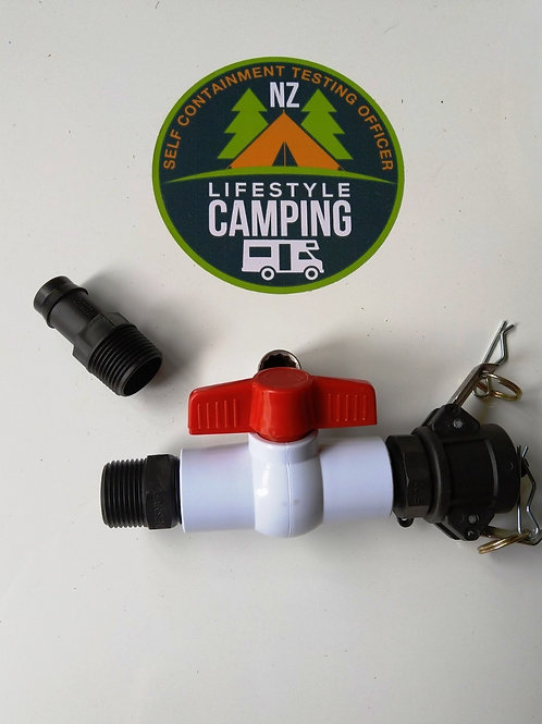Waste outlet and valve kit - Camlock 25mm