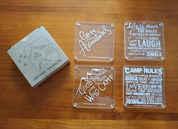APCNZ Acrylic Coasters - promoting camping and the club.