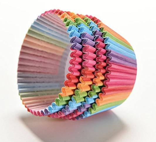 rainbow cupcake liners, best price sale on pretty fancy birthday cupcake liners