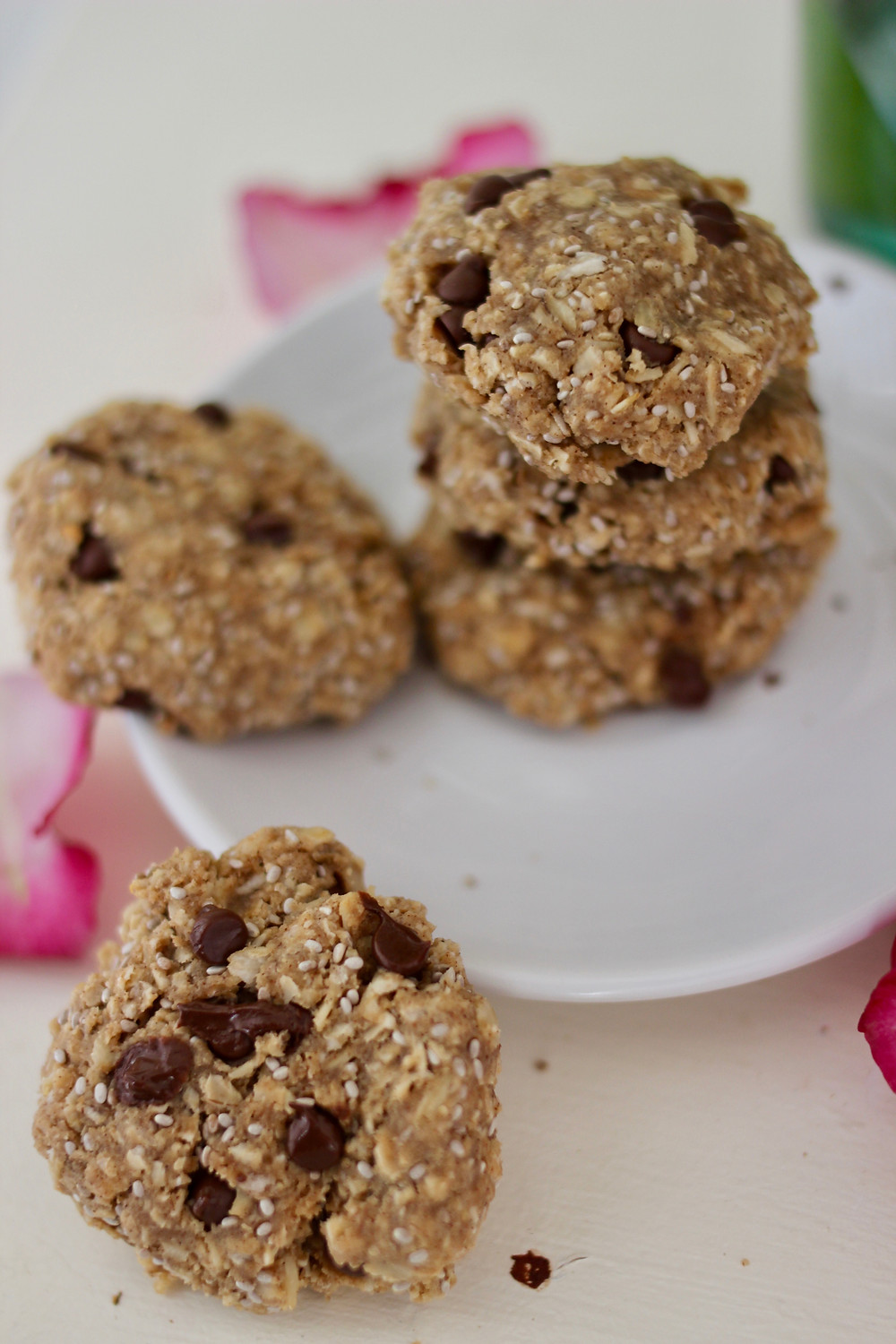 healthy chia chip cookies with powdered almond butter