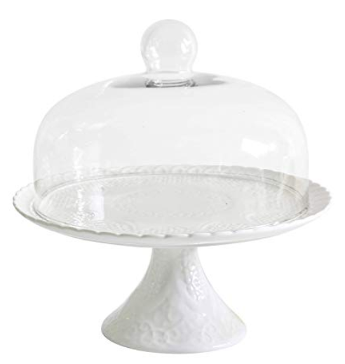 white cake stand with dome for desserts, appetizers, small dishes