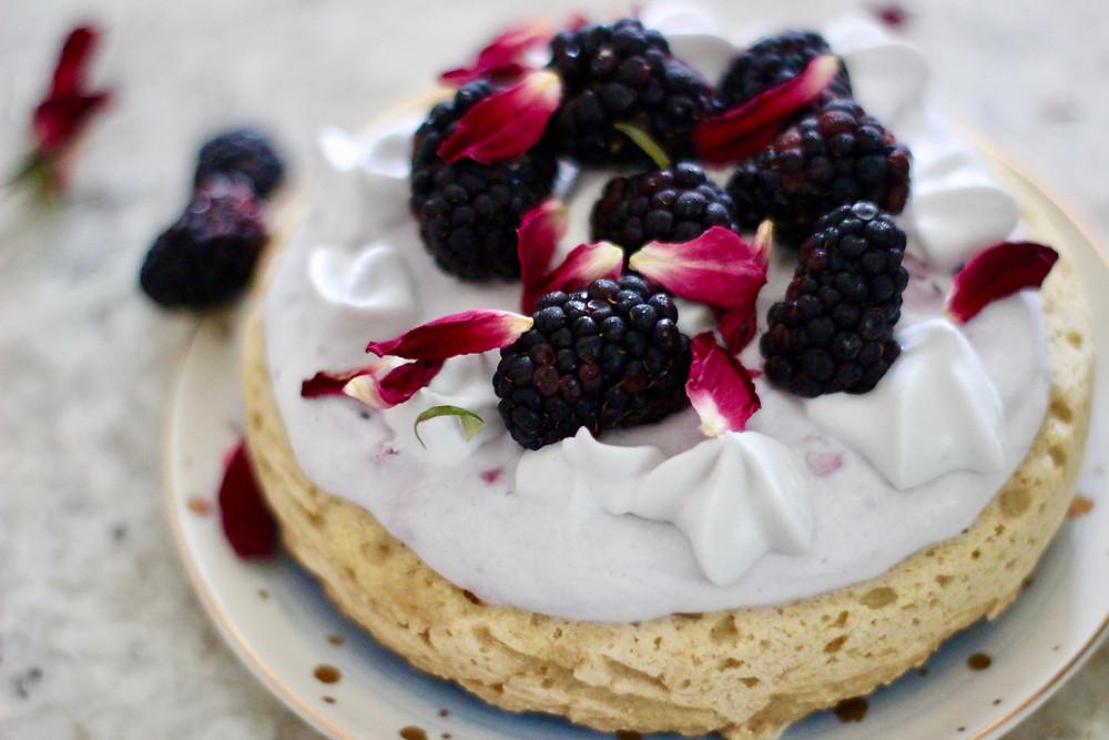 vegan dessert with rose petals