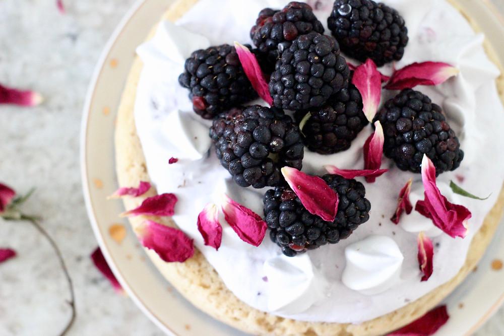 easy gluten-free plant-based berry cake