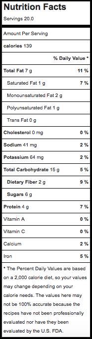 nutrition of vegan oatmeal cookies