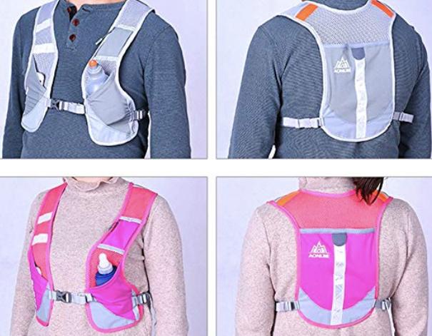 zippered neon run vest reflective
