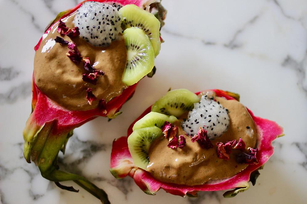 chocolate vegan smoothie bowl in dragonfruit