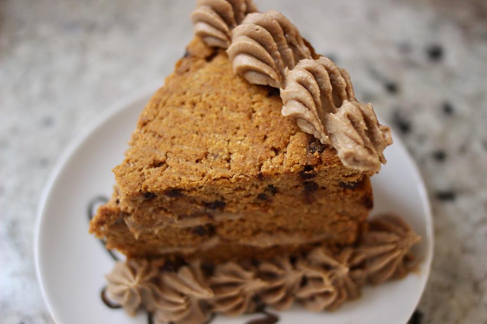 gluten-free paleo pumpkin chip cake with snickerdoodle dessert hummus frosting
