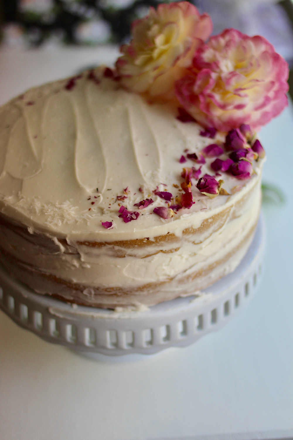 pretty easy rose vanilla layer naked cake