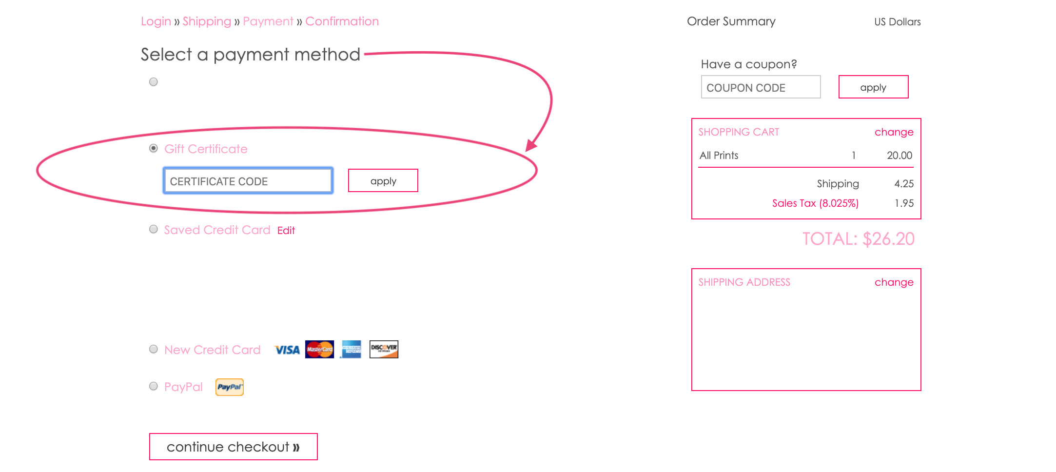 GIFT CERT CODE Box - Payment Page